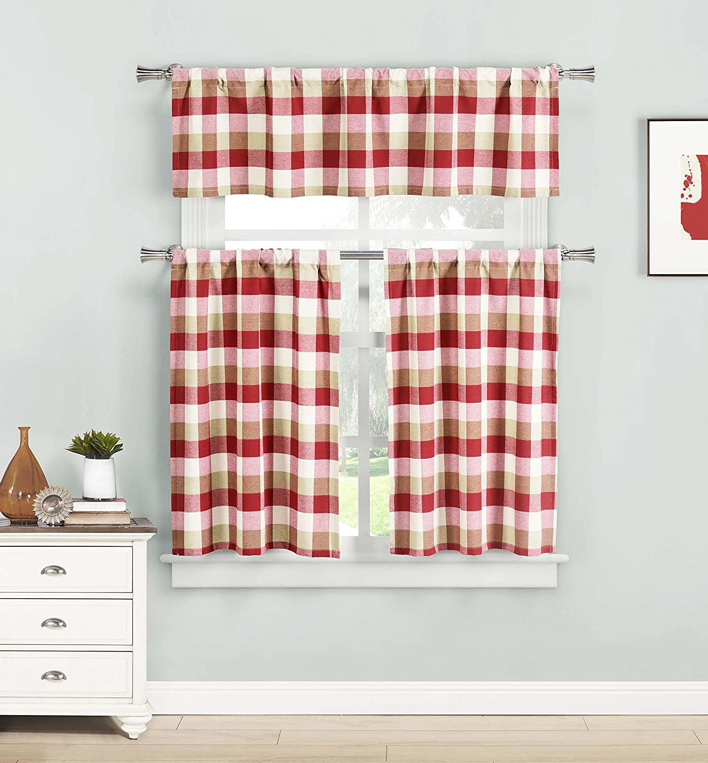 Home Maison- Kingsville Country Plaid Gingham Checkered Kitchen Tier & Valance Set | Small Window Curtain for Cafe, Bath, Laundry, Bedroom - (Red)