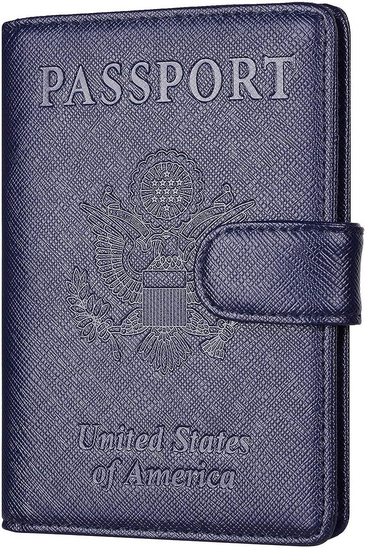 Toughergun Leather Passport Holder Wallet Cover Case RFID Blocking Travel Wallet (crosshatch deep blue buckled)