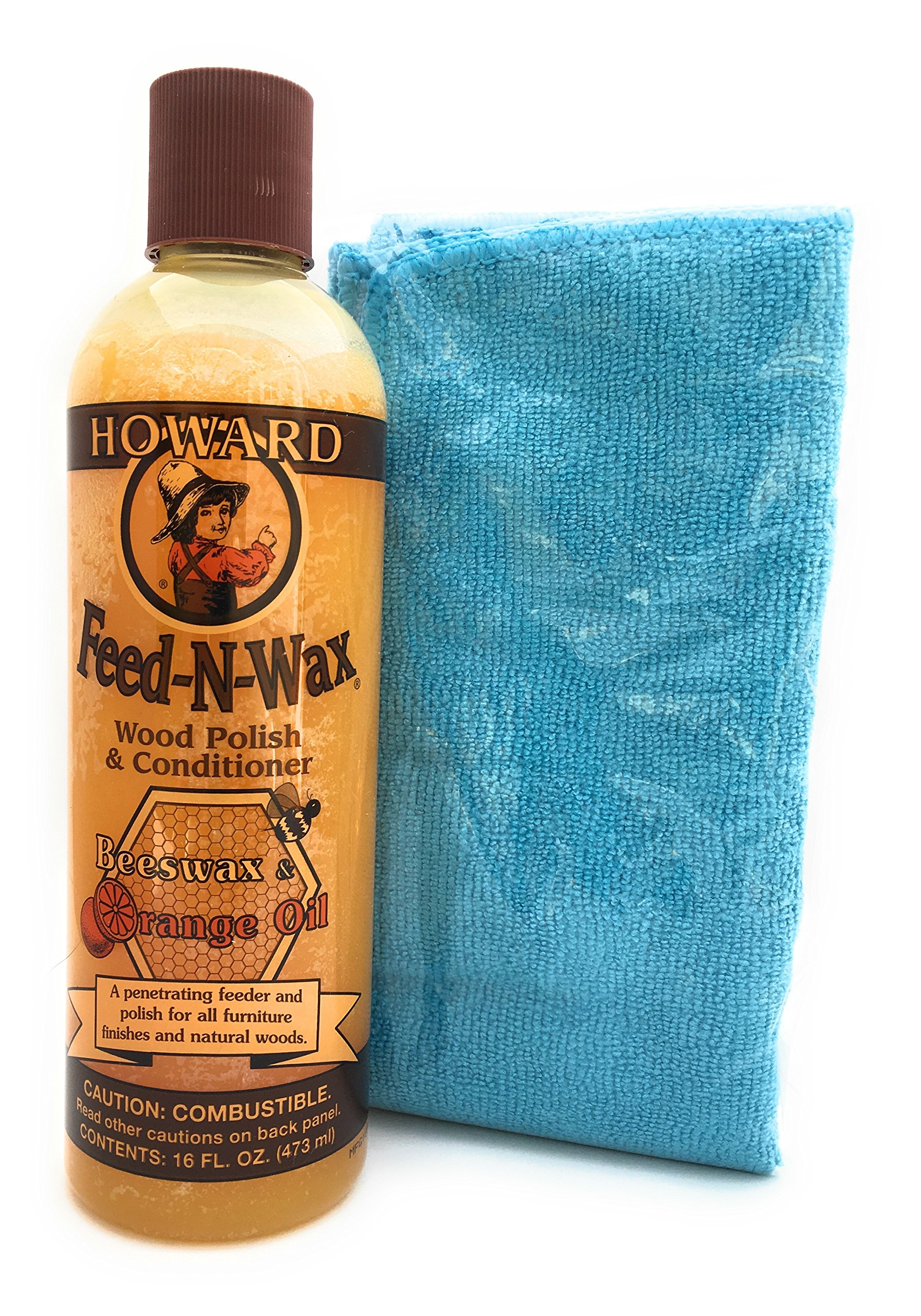 Howard Feed-N-Wax All Natural Wood Polish and Conditioner with Microfiber Cloth (Blue)