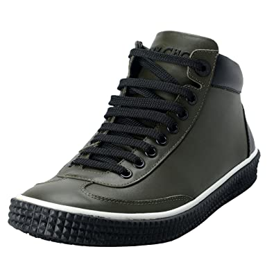 eb8bf678c7 JIMMY CHOO Varley Men's Leather Forest Green Hi Top Fashion Sneakers Shoes  US 6 IT 39