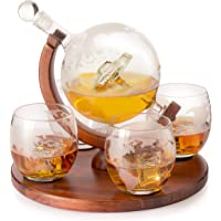 Etched World Decanter Car Whiskey Globe with 4 World Map Glasses - The Wine Savant Whiskey Gift Set Globe Decanter with…
