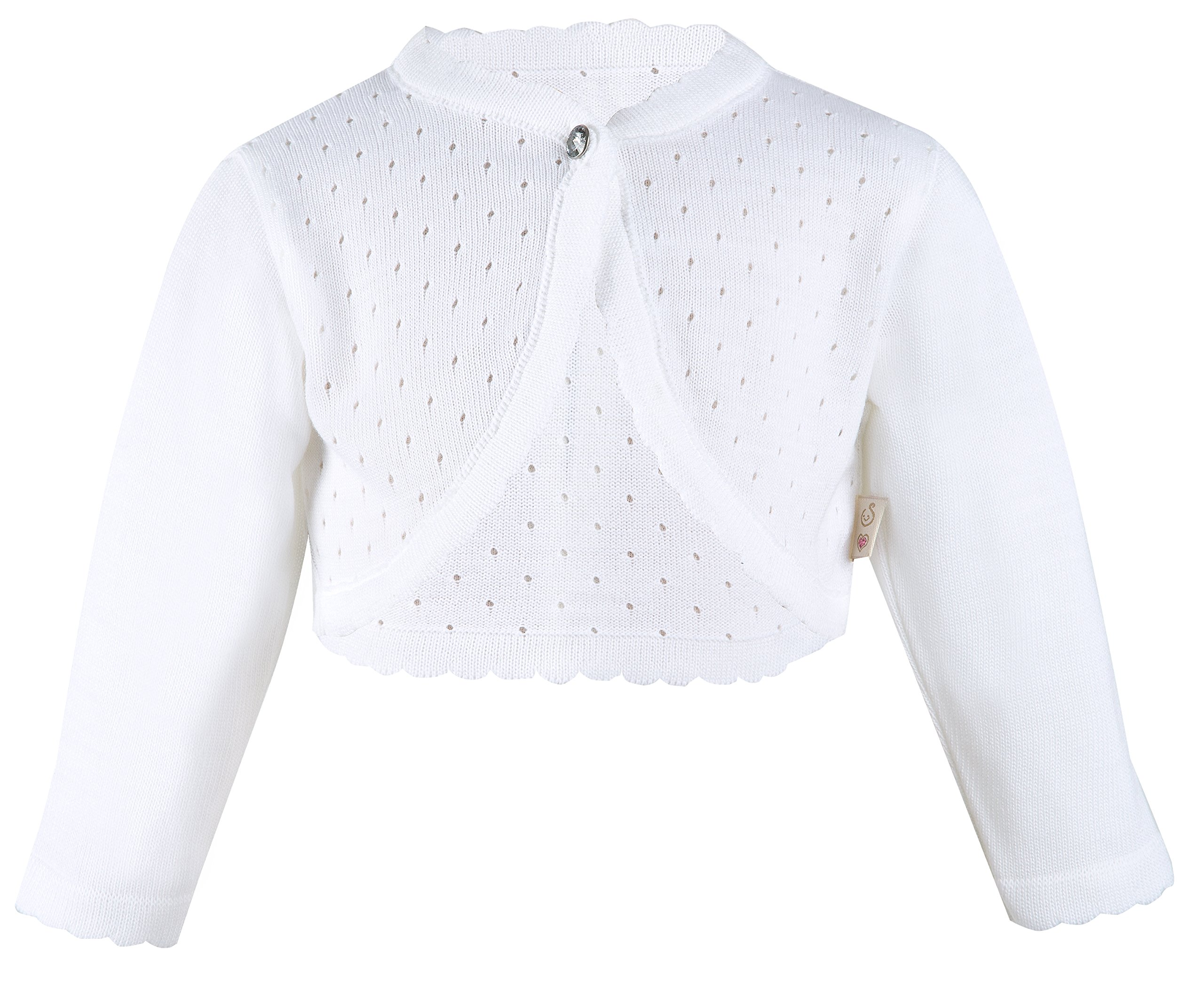 Lilax Little Girls' Knit Long Sleeve One Button Closure Bolero Shrug 2T White