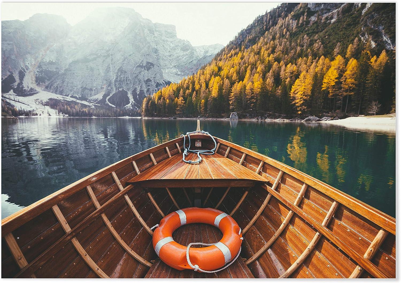 Panorama Póster Lago de Braies 30 x 21 cm - Láminas Decorativas Pared - Impreso en Papel 250gr - Cuadros Paisajes - Póster Naturaleza - Cuadros Decoración Salón
