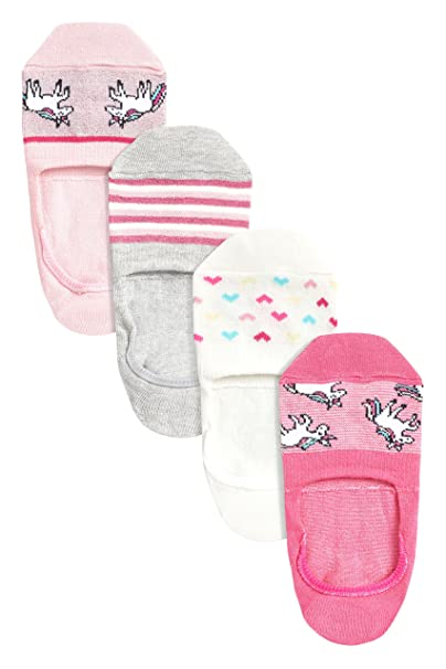 next Mujer Pack De Cuatro Calcetines Deportivos Invisibles Con Diseño De Unicornio Rosa M/L