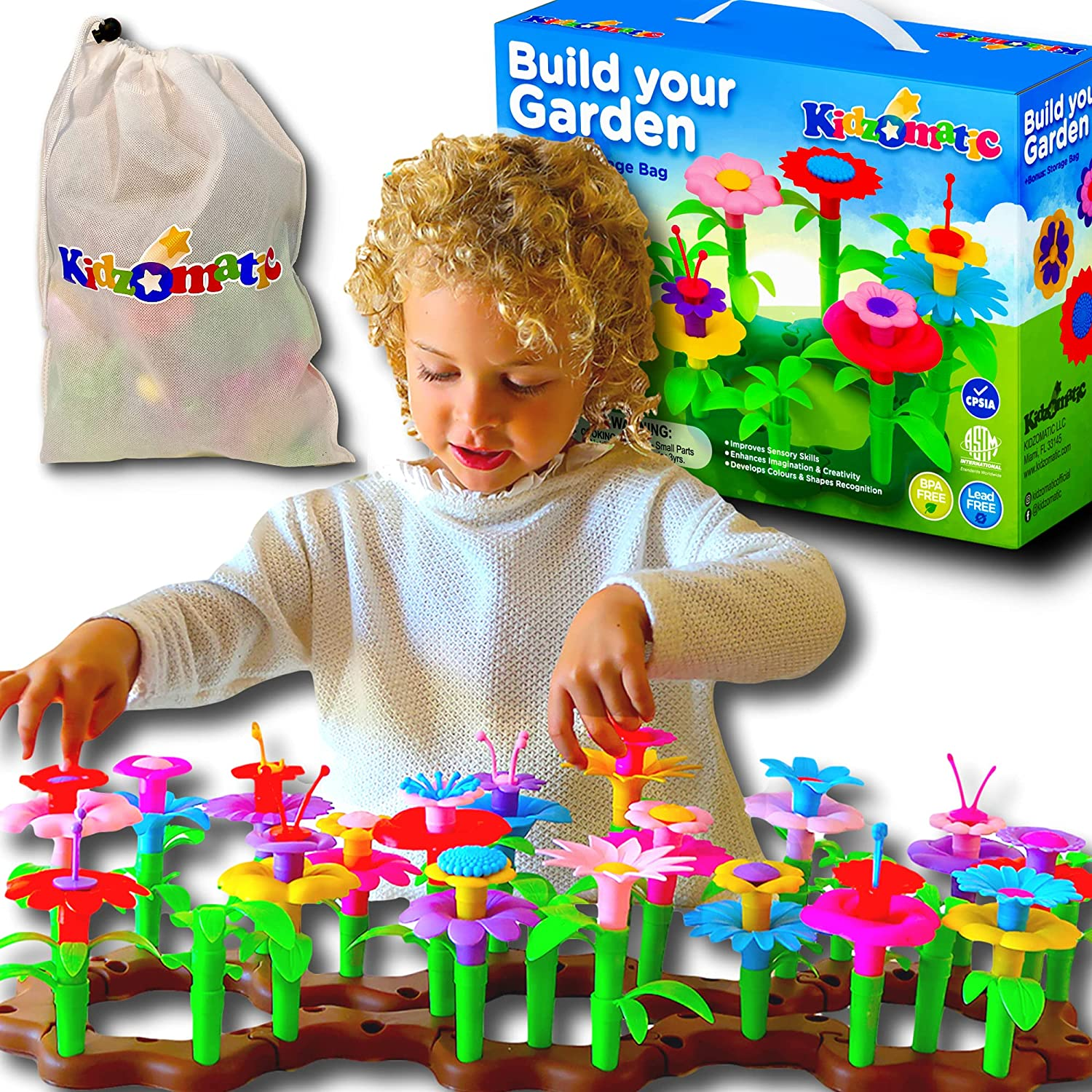Kidzomatic Flower Garden Building Toys for Girls - Build A Garden Stem Toy - Girls Toys Age 3-6 Years Old - Suitable for Kids 3-6 Yrs of Age - Educational Toddler Flower Garden Kit