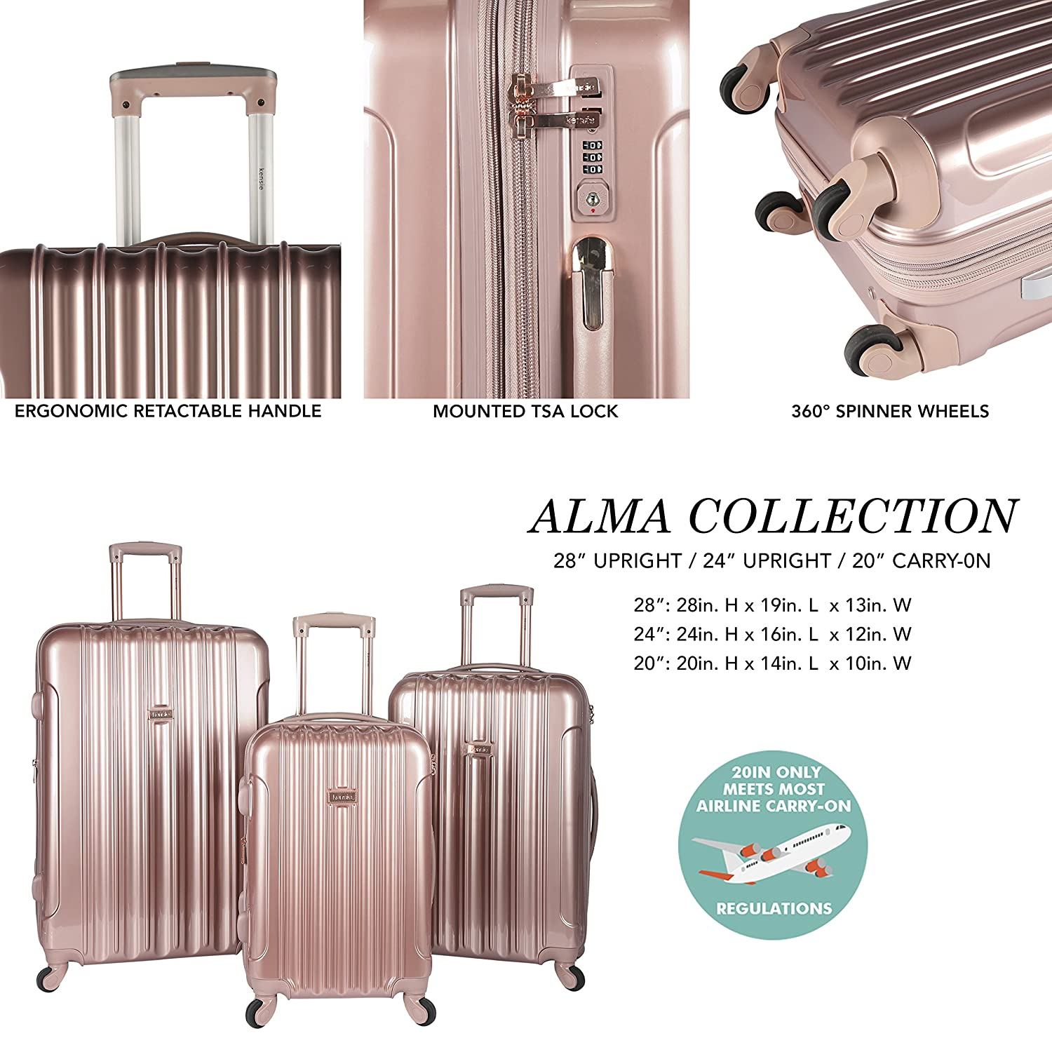 Rose Gold Color Option Travelers Club Luggage KN-67903-RG kensie 3 Piece Light Metallic Design 4-Wheel Luggage Set