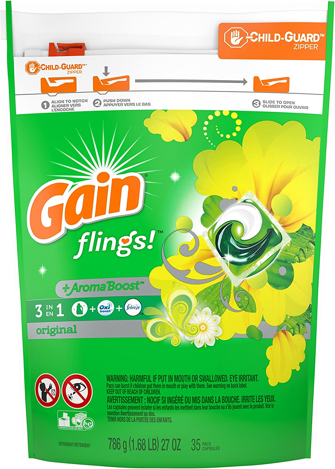 Gain flings! Liquid Laundry Detergent Pacs, Original, 35 count