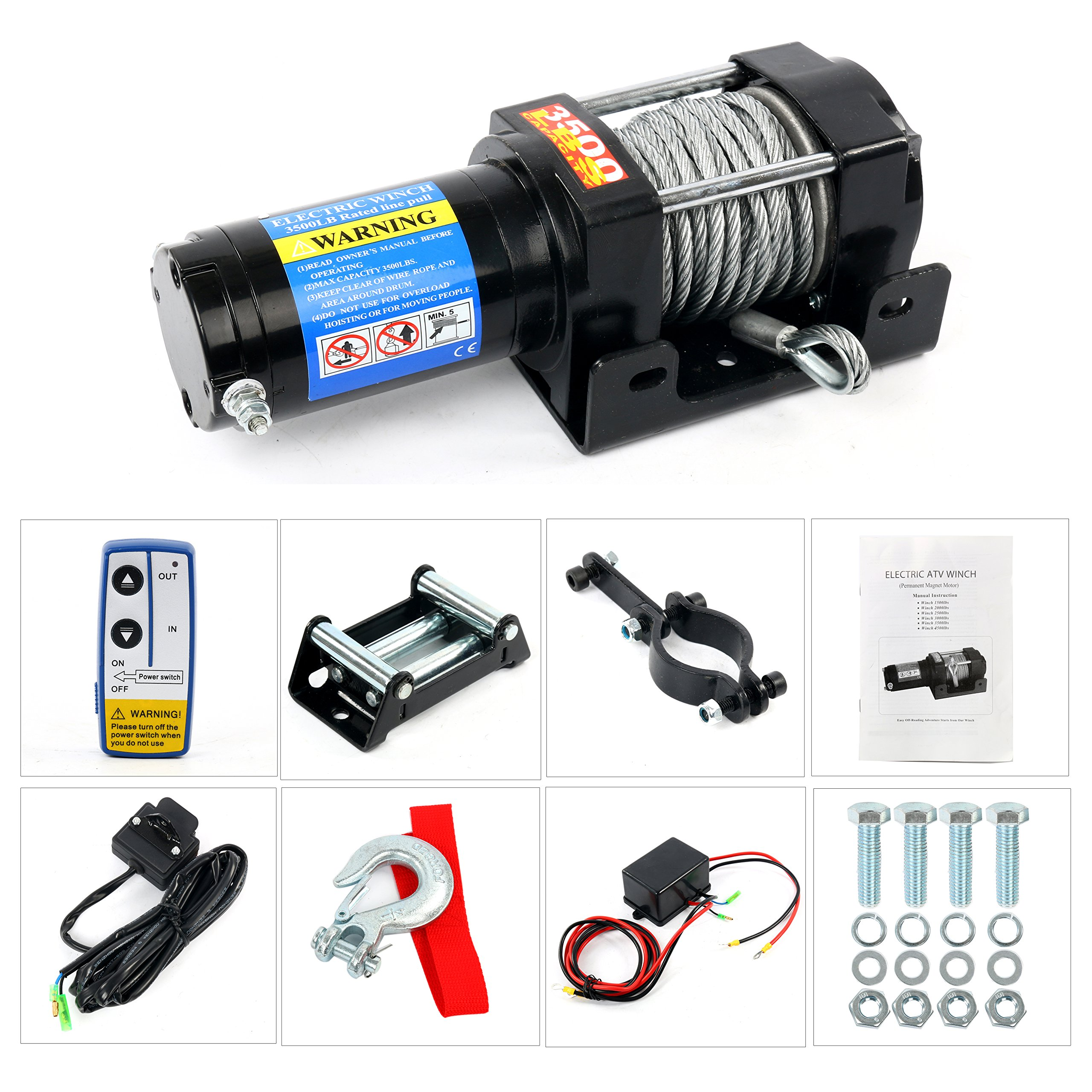 YaeTek 12V Winch 3500lbs/1591kg with Roller Fairlead Mounting Plate Electric Steel Cable Winch Kit, Handheld Remote Waterproof ATV Tow Boat Jeep Truck Trailer Offroad