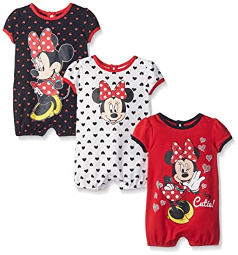0cd332384 Amazon.com: Disney Baby Girls' Minnie 3 Pack Rompers: Clothing