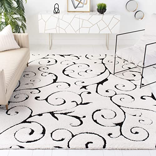 Safavieh Florida Shag Collection SG455-1290 Scrolling Vine Graceful Swirl Textured 1.18-inch Thick Area Rug