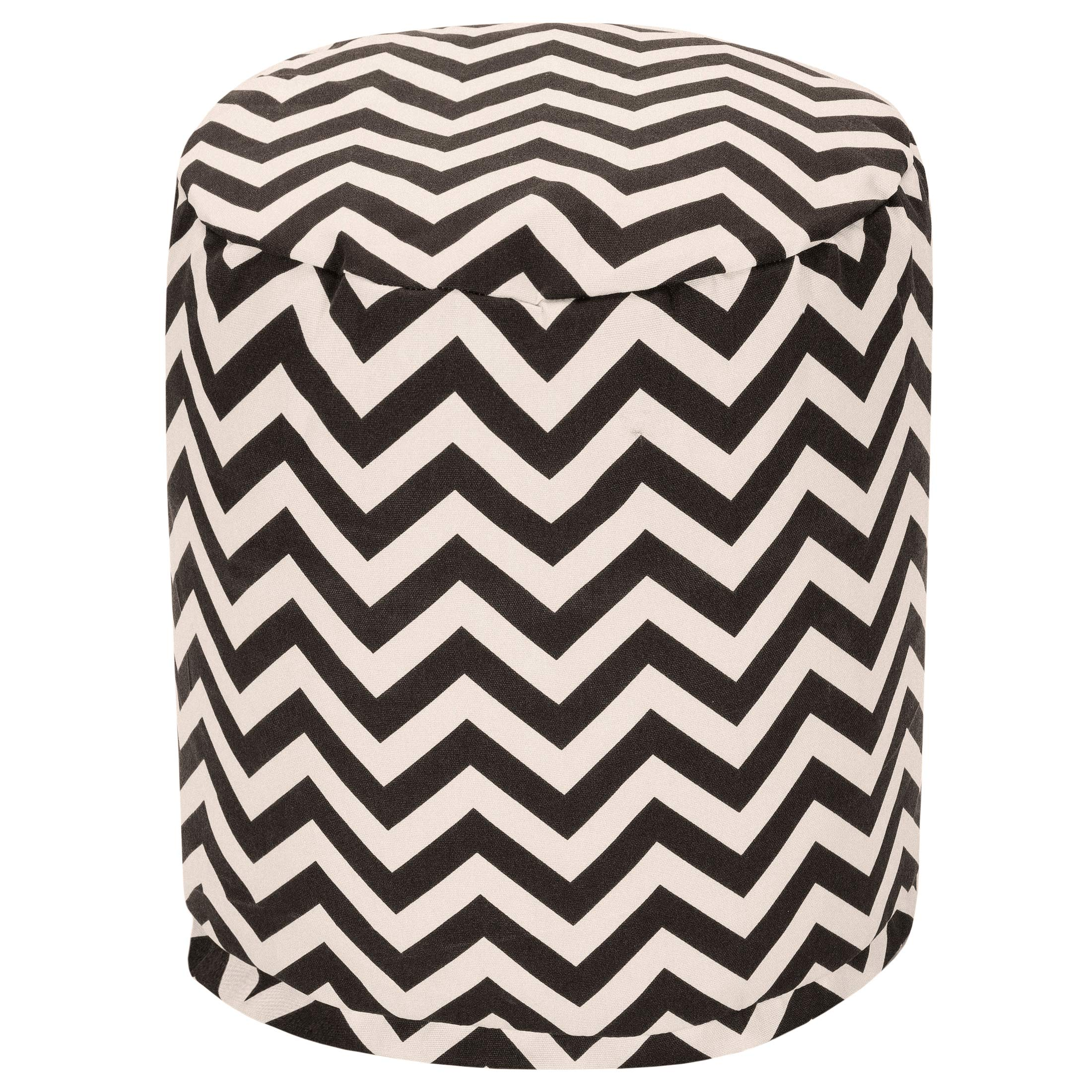 Majestic Home Goods Black Chevron Indoor/Outdoor Bean Bag Ottoman Pouf 16'' L x 16'' W x 17'' H