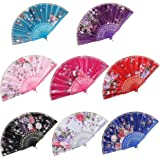 BABEYOND 8pcs Floral Folding Hand Fan Vintage Handheld Lace Folding Fan with Different Flower Patterns Fabric Folding…