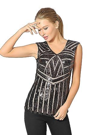 181823fae5832a Metme Women Vintage V Neck Slight Loose Flashy Sequin Sparkly Vest Tops  Tank Tops Black +
