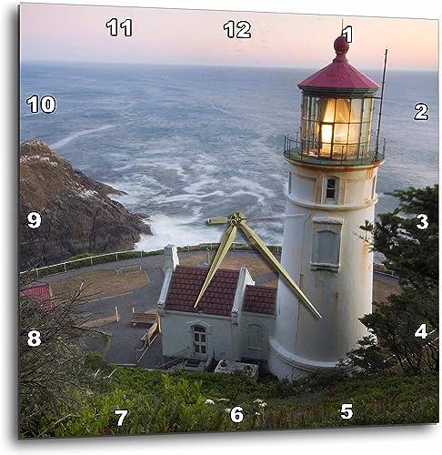 3dRose DPP_94104_3 Haceta Head Lighthouse, Oregon, USA-US38 RKL0018-Raymond Klass-Wall Clock, 15 by 15-Inch