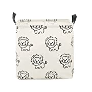 LANGYASHAN Canvas Storage Bins Toy Box Square Collapsible Waterproof Nursery Hamper for Laundry,Toy Organizer, Kids Hamper,Baby Room Decor(Lion)