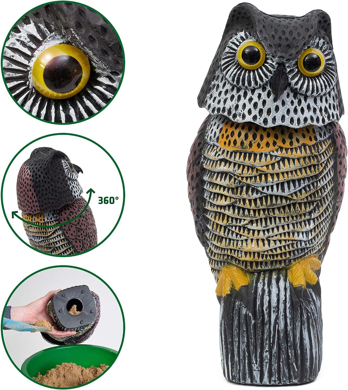 Gardigo - Búho Espantapájaros, Gira la Cabeza, Antipalomas Ahuyentador Repelente para Pájaros Aves, para Jardines Viviendas Balcones
