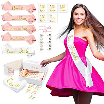 White /& Gold Foiled Bride to Be Sash Hen Night Party Accessories Bachelorette Do