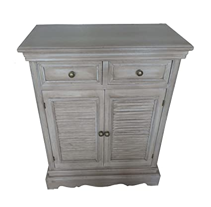 Amazon Wood Cabinet With 2 Drawers And 2 Louvered Accents Door