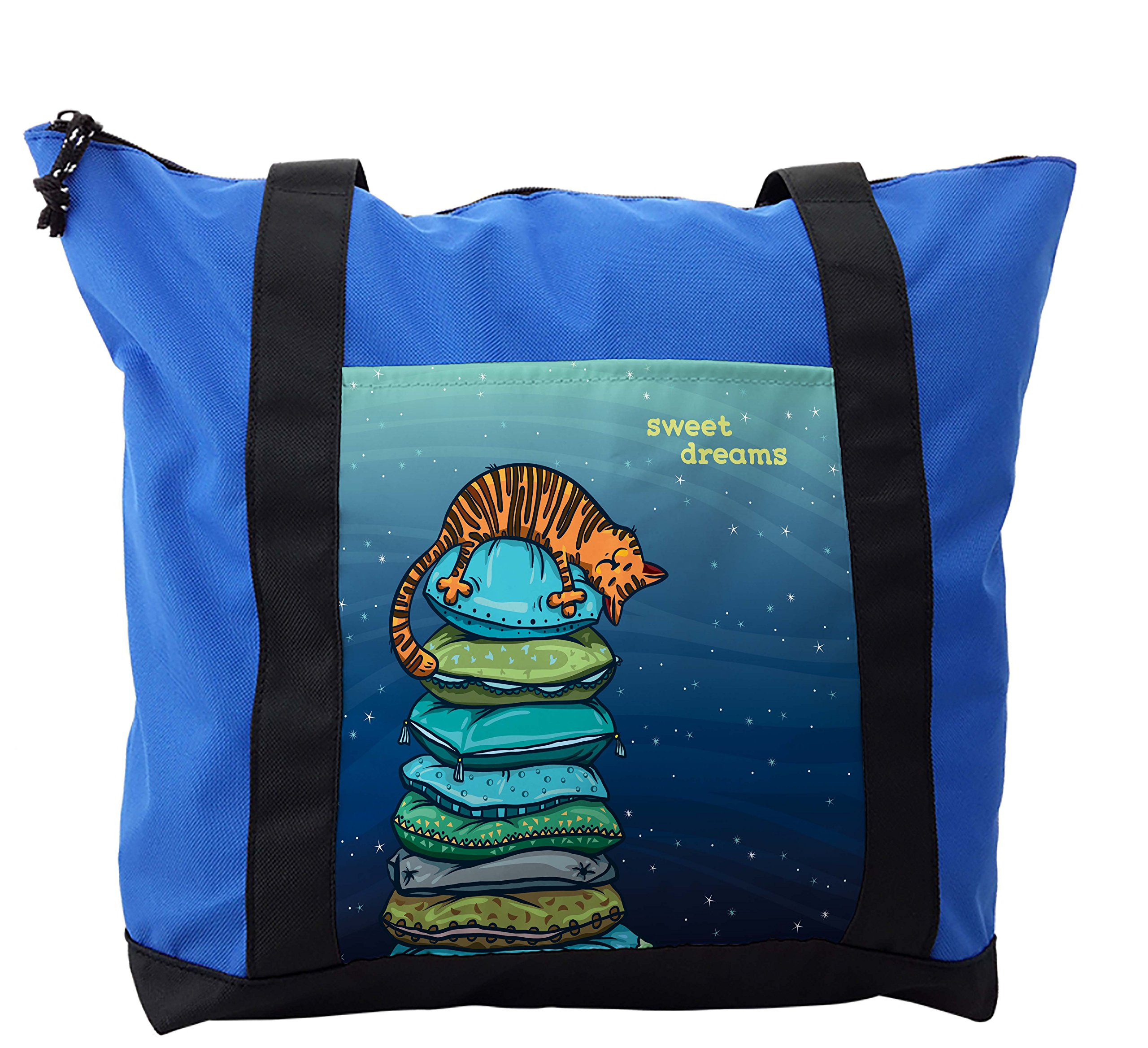 Lunarable Cat Shoulder Bag, Kitten Sleeping on the Pillows, Durable with Zipper