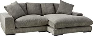 Moes Home Collection Plunge Reversible Sectional Sofa, Charcoal