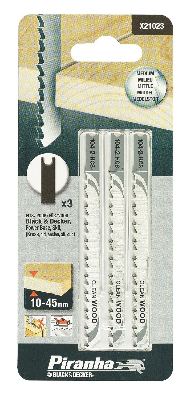 Black+Decker X21023-XJ - 3 hojas HCS para corte recto y sin astillas. L. 75 mm. Dte 4 mm. Hasta 60mm de grosor en madera, aglomerado y plá stico. aglomerado y plástico. Black&Decker