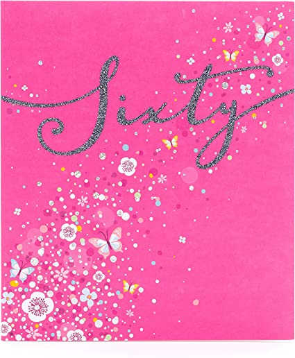 Amazon Com 60th Birthday Card Birthday Card For Her Friend Birthday Card Elegant Glitter Design Office Products
