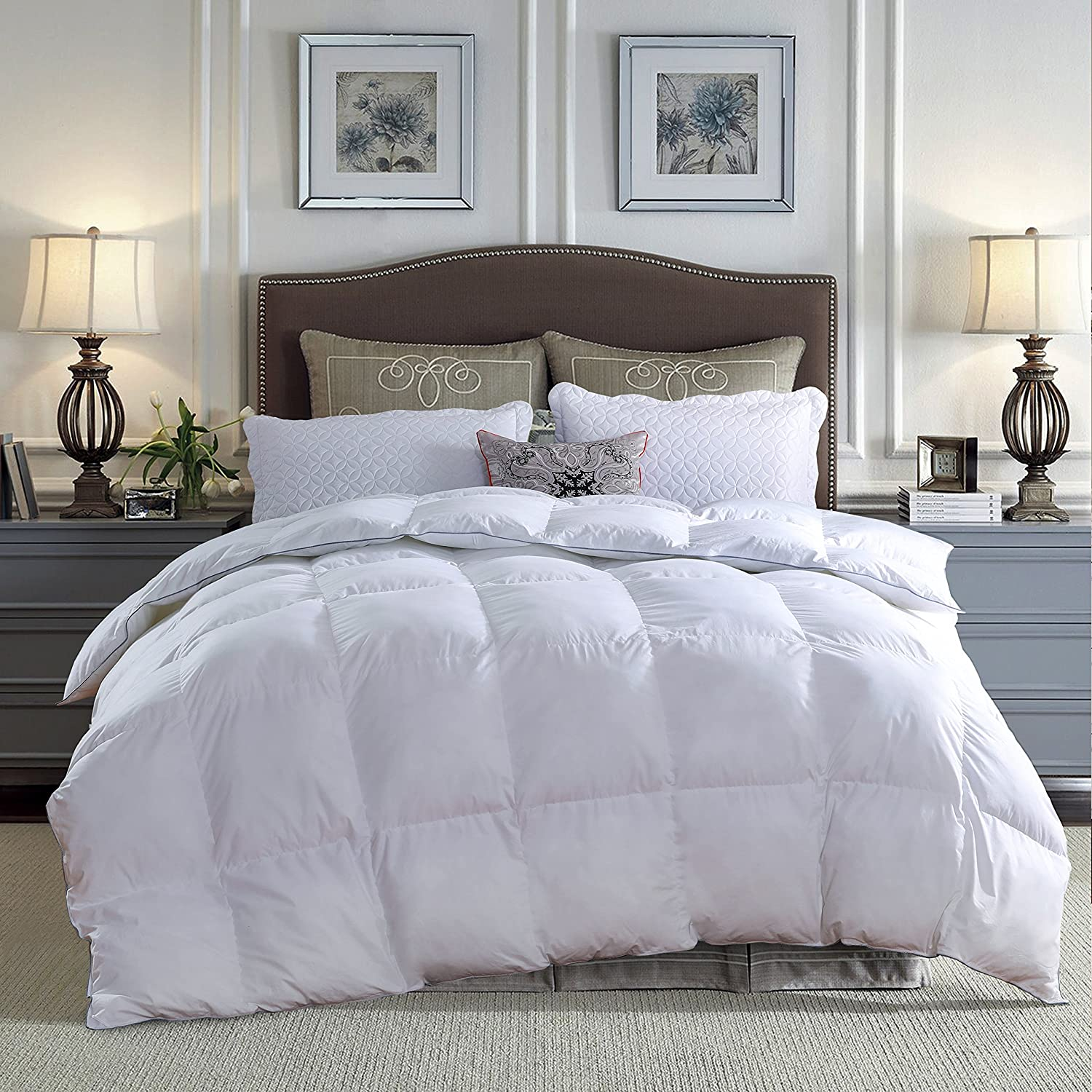 LOVSOUL Down Comforter King All Season Duvet Insert,Hypoallergenic Goose Down Comforter,1200 Thread Count 700+ Fill Power 100% Egyptian Cotton