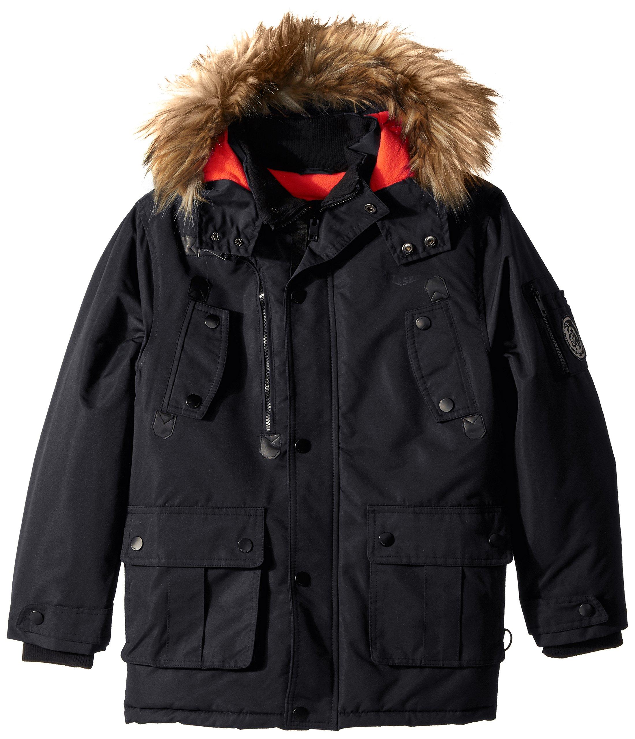 Diesel Boys' Little Outerwear Jacket (More Styles Available), Faux Fur Parka-DS68-Black, 7