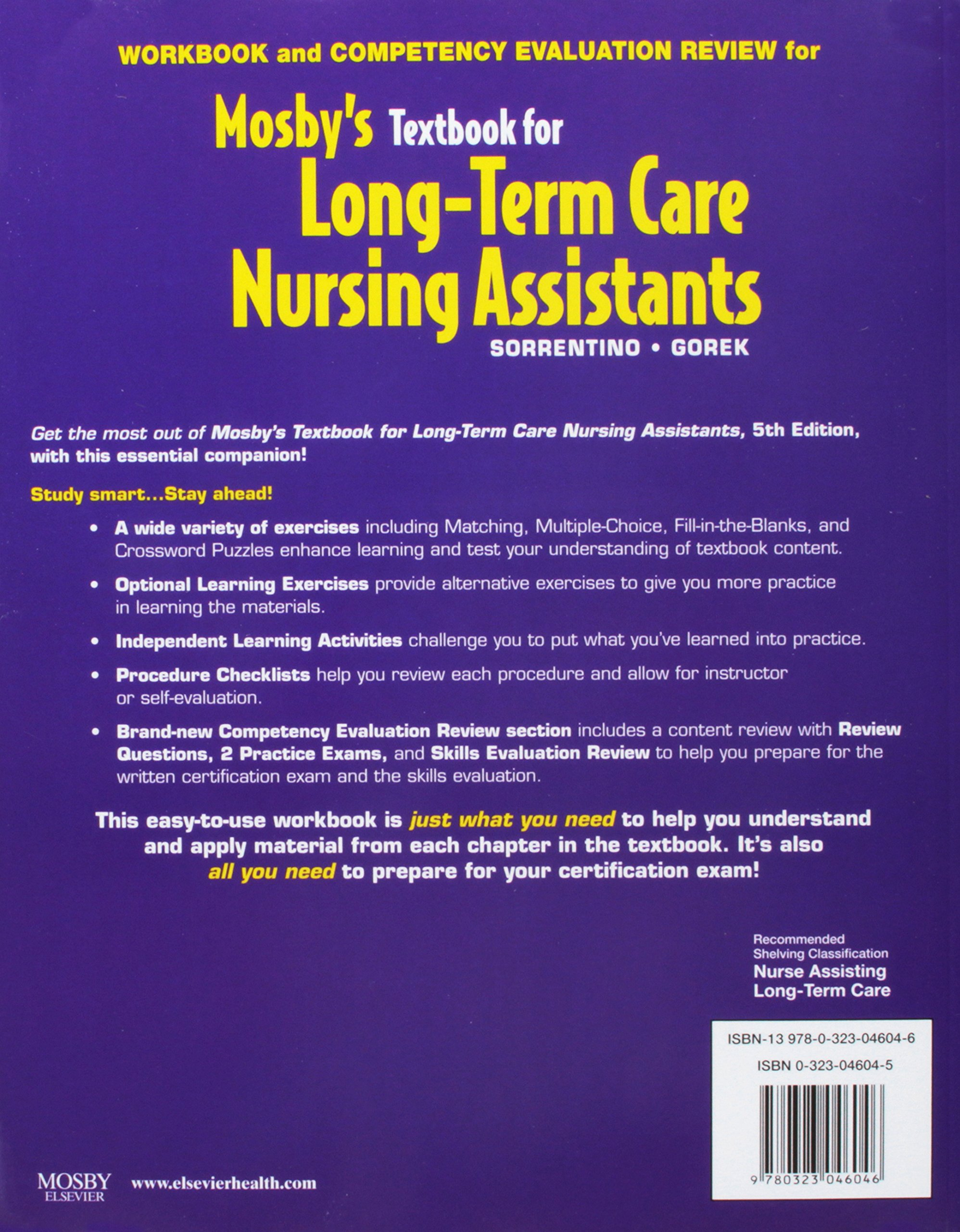 mosbys textbook for longterm care nursing assistants textbook and workbook package