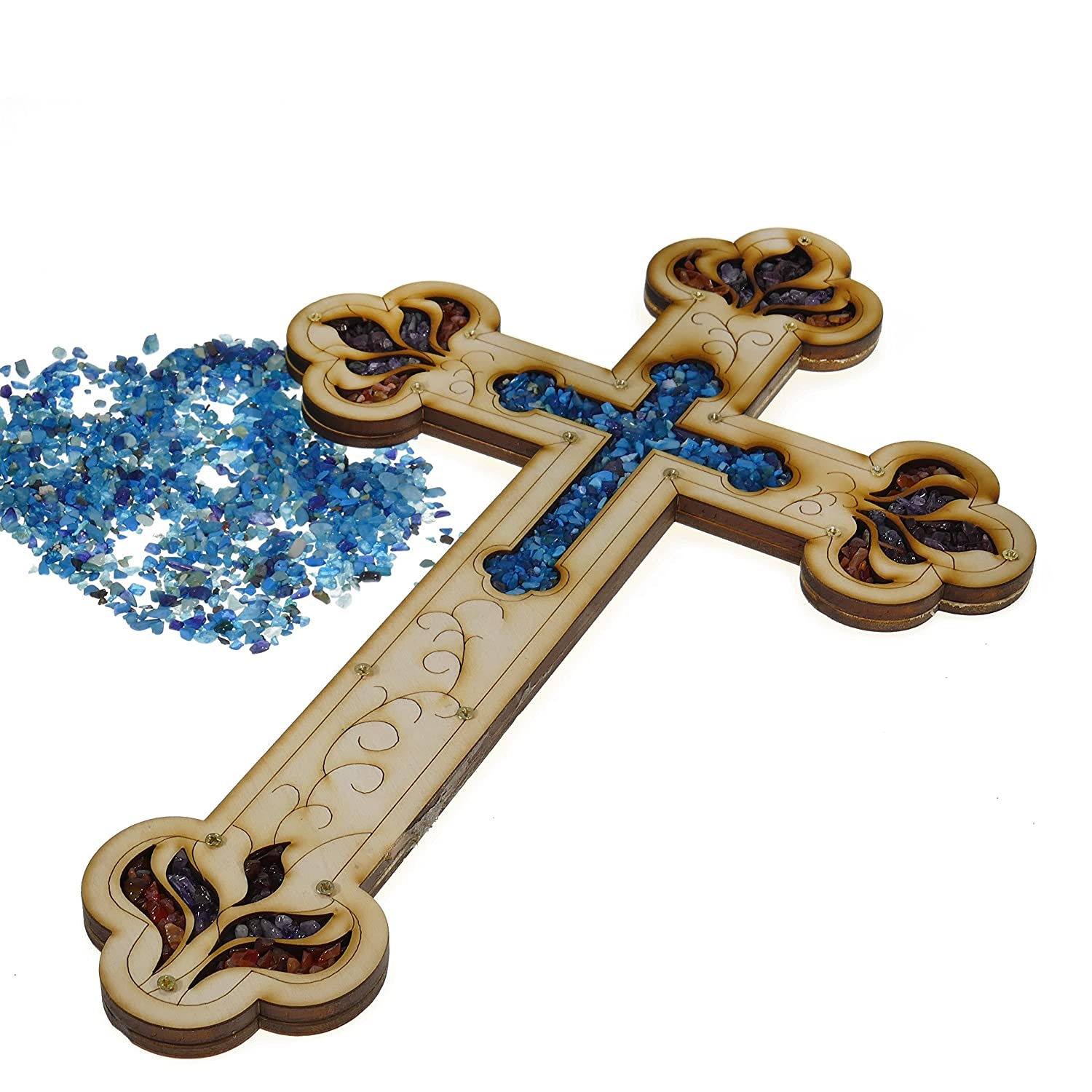 shop amazon com wall crosses wall wood cross vintage jerusalem gemstones antique style decor 11