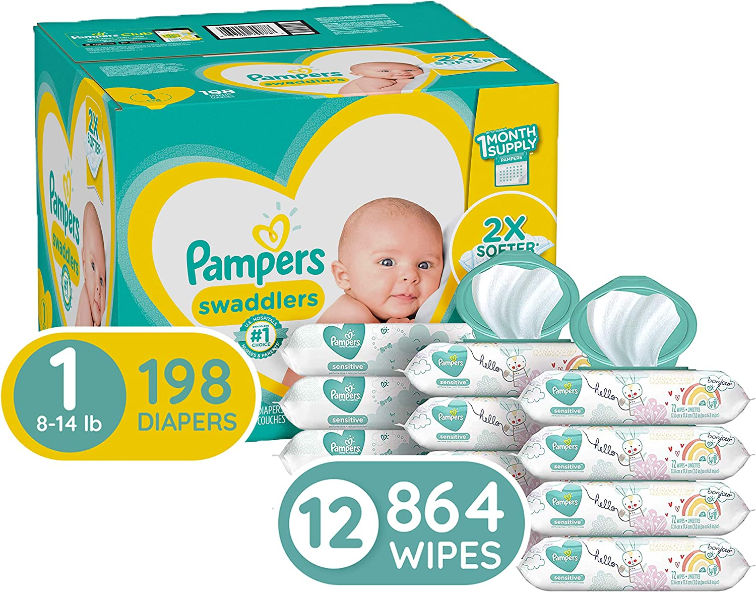 Diapers Newborn/Size 1 (8-14 lb), 198 Count and Baby Wipes - Pampers Swaddlers Disposable Baby Diapers, ONE Month Supply with Pampers Sensitive Water Baby Wipes, 12X Pop-Top Packs, 864 Count