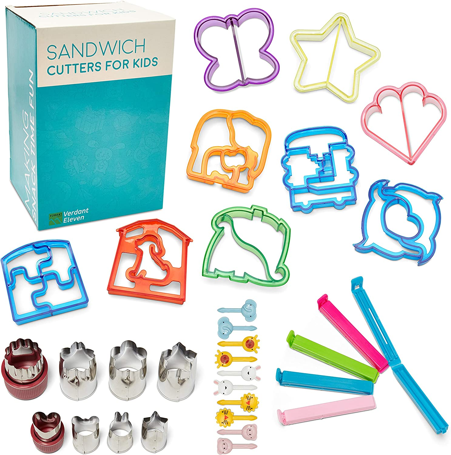Sandwich Cutter Bundle - 29 Piece Set - Multicolor Plastic Shapes - Cute Toothpicks - Stainless Steel Vegetable & Cheese Cutters - Free Bag Clip Bonus - Fun Lunches - Kid Friendly Bento Box - Animals