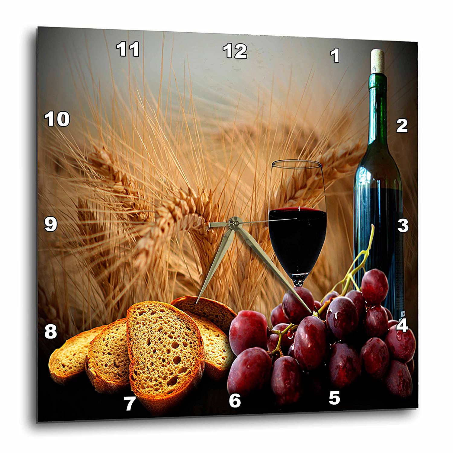 3dRose dpp_14294_3 Wine Bread Grapes Wall Clock, 15 by 15-Inch