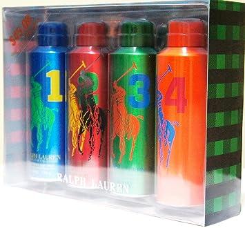 60b0a415f0 RALPH LAUREN POLO The FOUR Big Pony Deodorizing Body Spray Gift Set for Men  (6 OZ each)