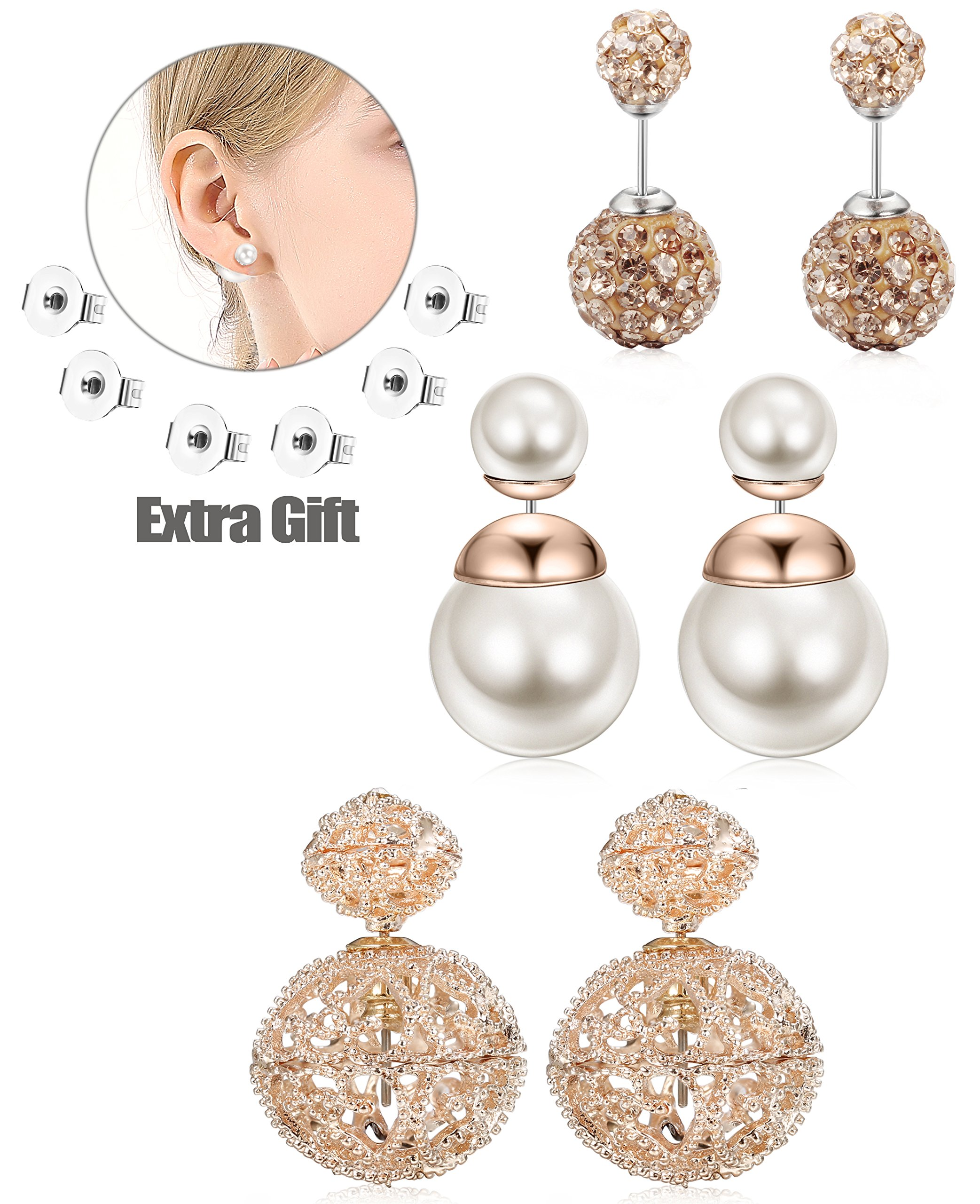 JOERICA 3 Pairs Vintage Hollow Out Womens Double Side Round Ball Stud Earrings Rose-gold