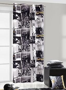 140 x 245 Mm-blanc/noir/jaune rideau voilage de fenêtre motif taxi ...