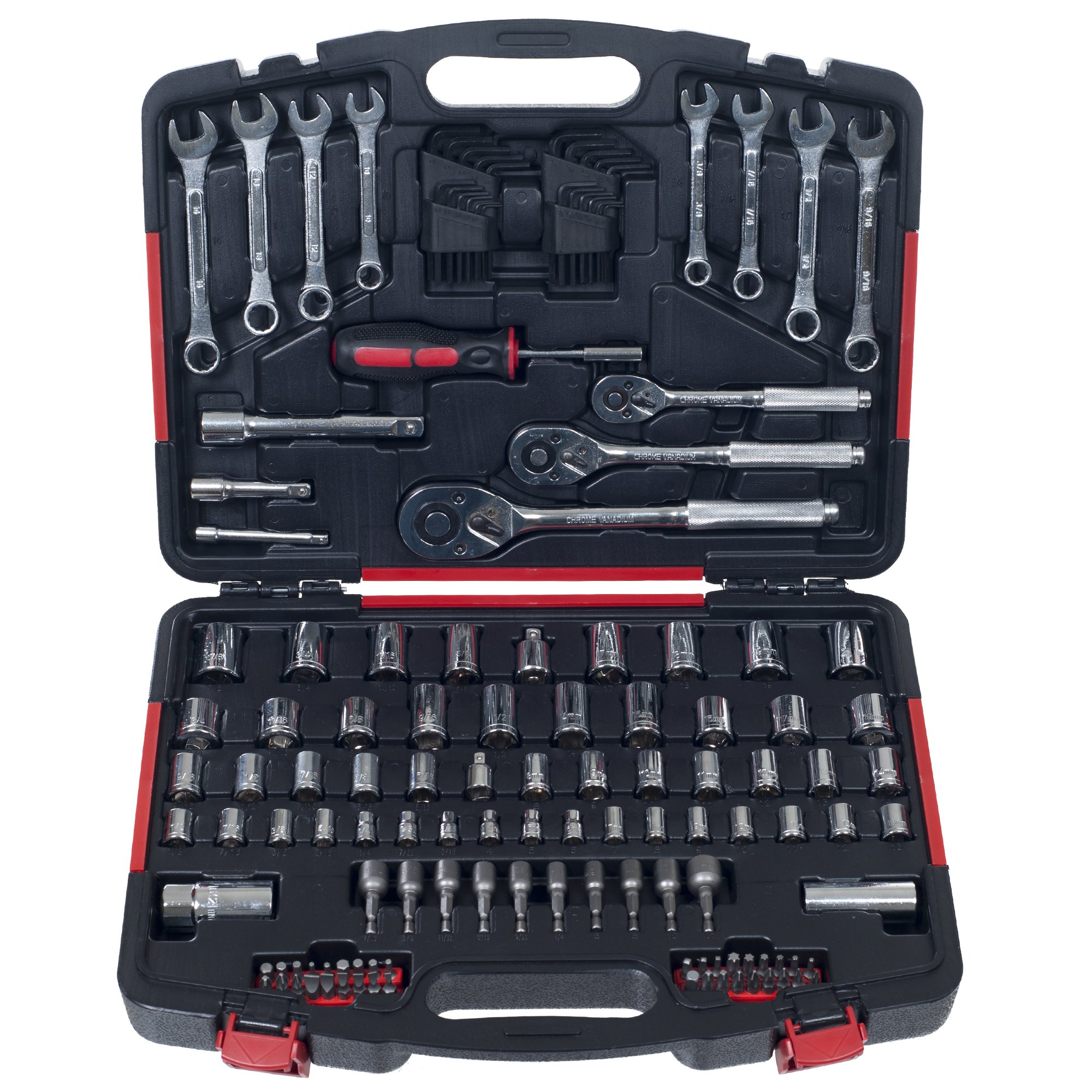 Stalwart Mechanic's Tool Kit by 135 Piece Hand Tool Set Includes – Screwdriver, Wrench, and Ratchet Set (Great for the Home, Garage, or Car)