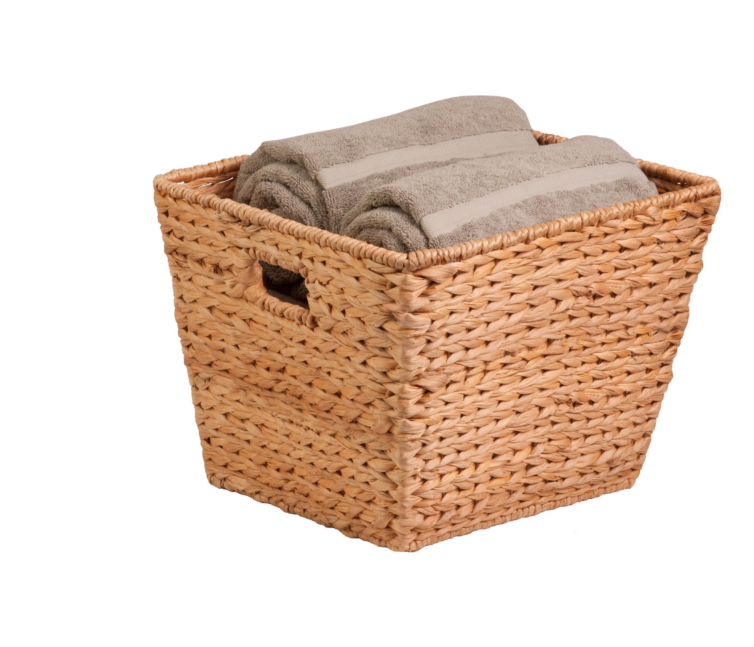 Honey-Can-Do STO-02884 Tall Square Water Hyacinth Basket Bin, Large, 15 L x 15 W x 12 H