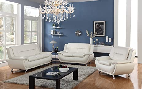 Golden Coast Furniture 3 PC Leather Sofa Sectional Sets With Multiple  Colors (White)
