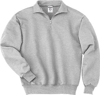 Jerzees Mens Super Sweats 1 4-Zip Sweatshirt with Cadet Collar at ... 8e1264ca072c