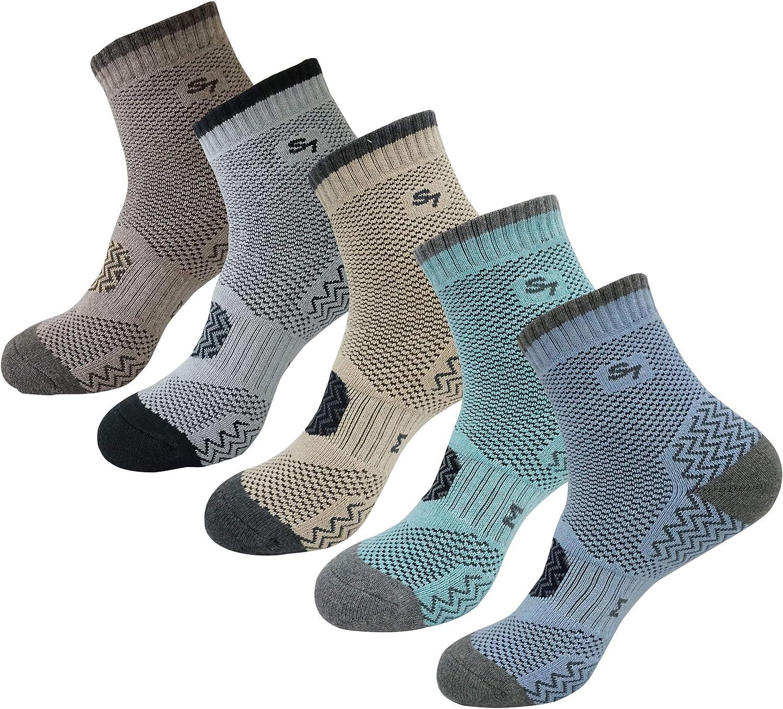 SEOULSTORY7 5pack Men's Full Cushion Mid Quarter Length Hiking Socks