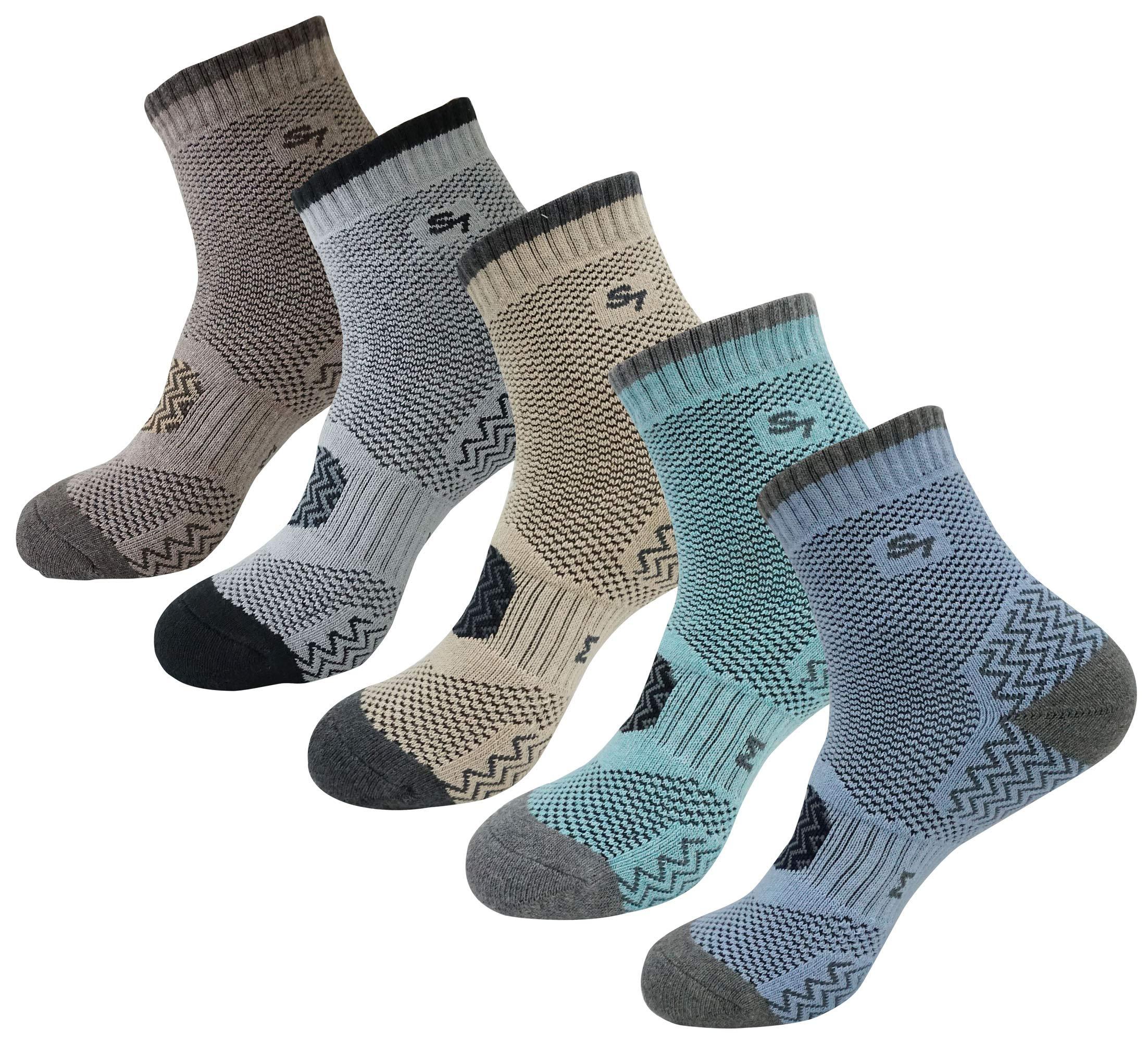 SEOULSTORY7 5pack Men's Full Cushion Mid Quarter Length Hiking Socks 5Pair Brown/Gray/Mint/Light Blue/Beige XL3 by SEOULSTORY7