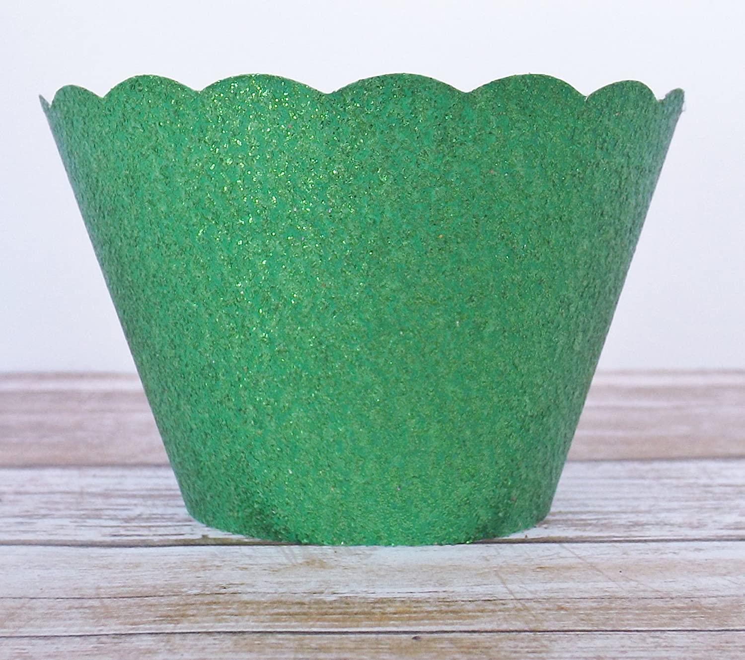 Standard and Mini Sized Holders Green Metallic Glitter Cupcake Wrappers Set of 12