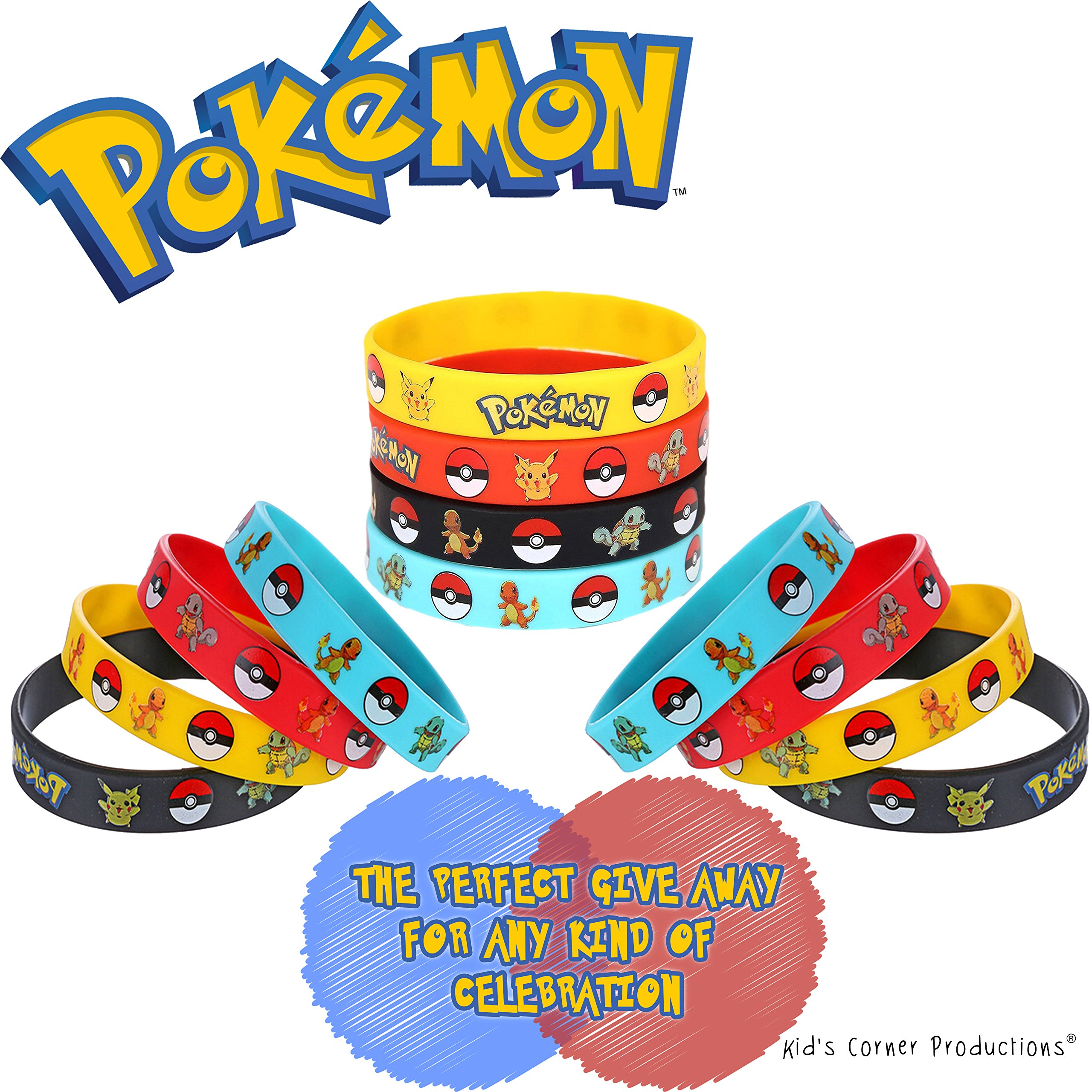 Kid's Corner Productions - Pokemon Bracelets Party Favor | 12 Assorted Silicone Bracelets Party Bag for Kids