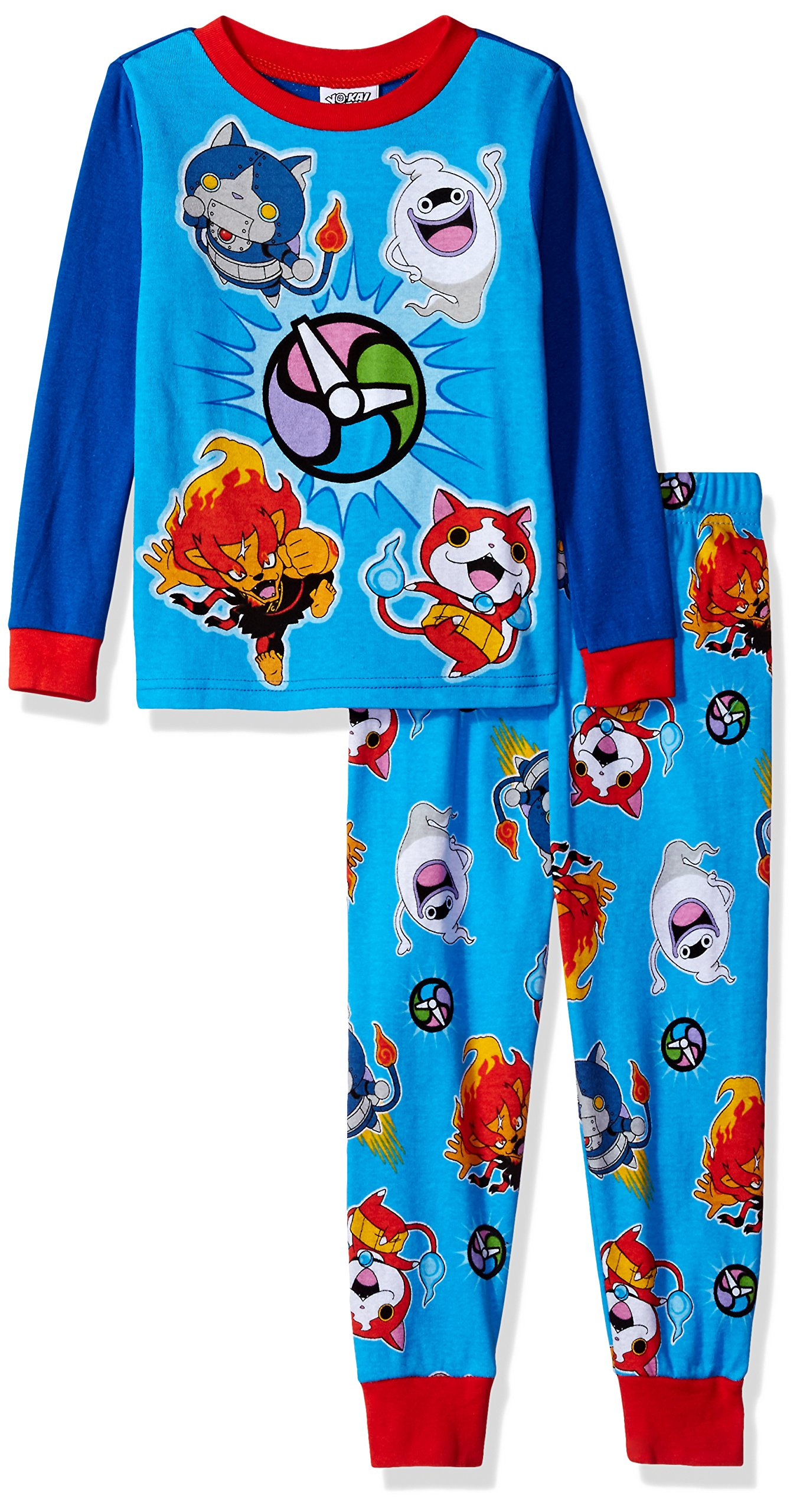 Yo-Kai Watch Big Boys' 2-Piece Cotton Pajama Set, You/Kai Blue, 10