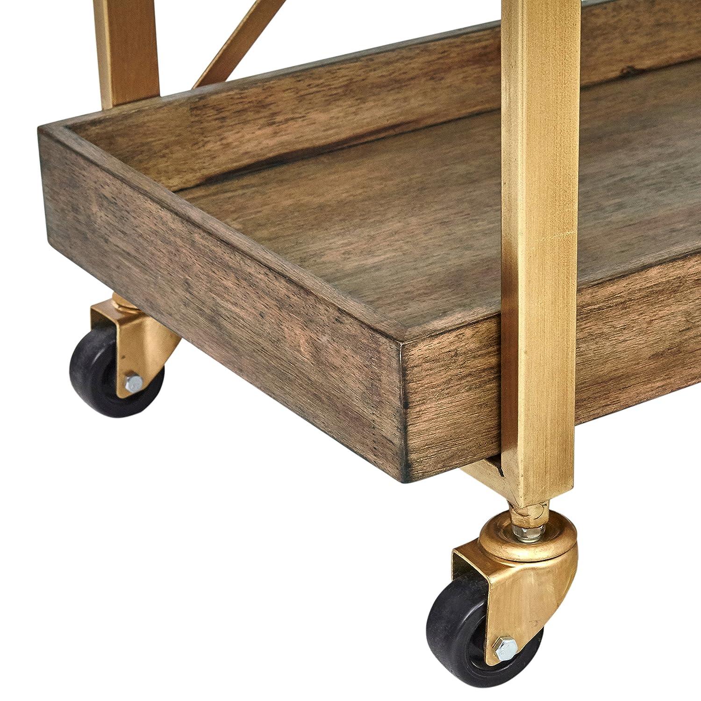 Amazon.com - Rivet 3-Tiered Rustic Metallic Rolling Wood and Metal ...