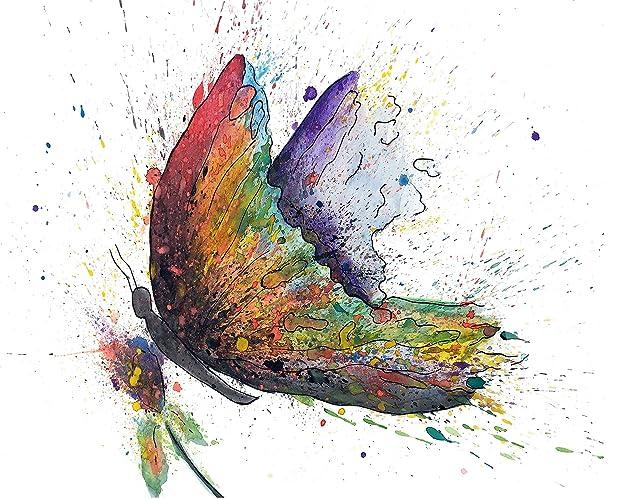 Canvas Wall Art Butterflies Butterfly QuotRainbowquot Giclee Print