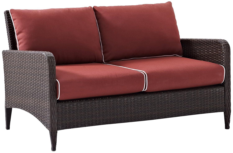 Crosley Furniture Kiawah Outdoor Wicker Loveseat with Sangria Cushions – Brown
