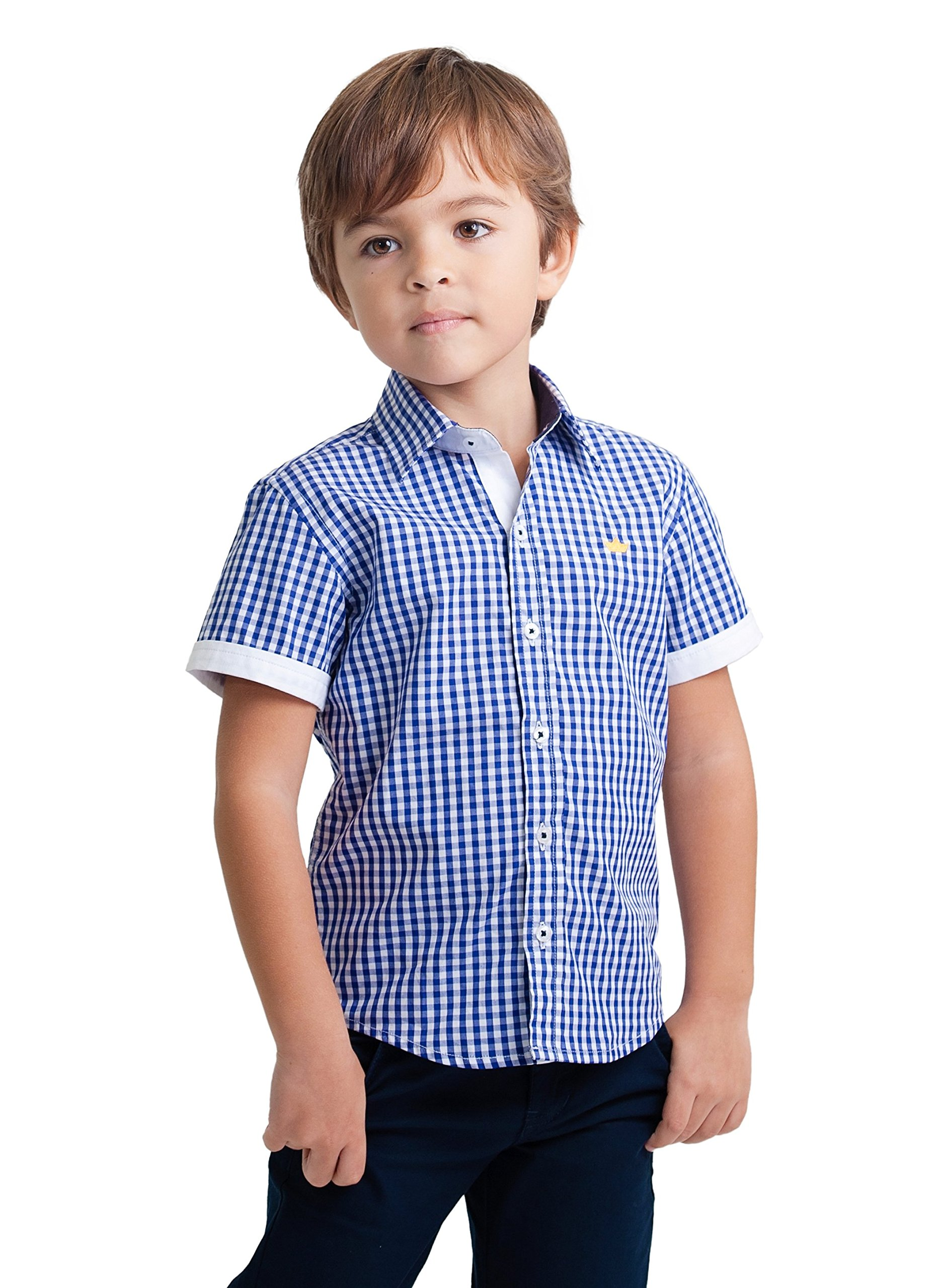 Dakomoda Boys' Short Sleeve Summer Dress Shirt - 100% Pima Cotton Blue Gingham Check Top 5T