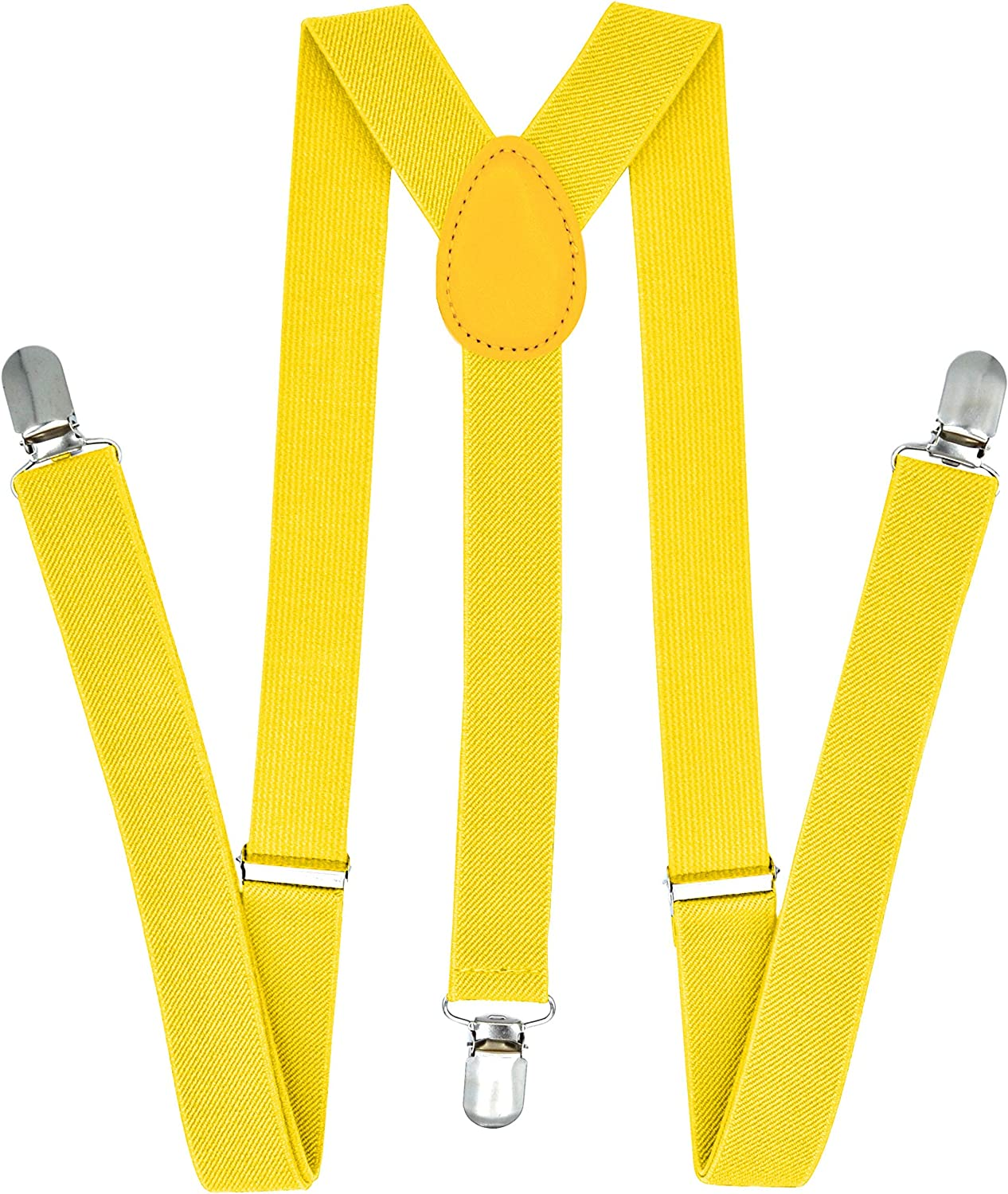 Yellow Set Adjustable Elastic Y Back Style Suspender Bowties Trilece Suspenders and Bow tie Set for Men Women Boys Adults
